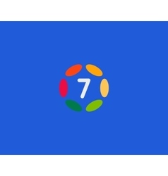 Color number 7 logo icon design hub frame vector