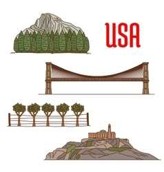 Natural and architecture landmarks of america vector