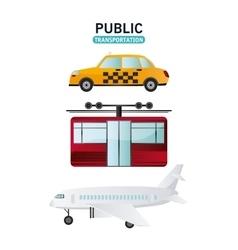 Public transportation vehicles design vector