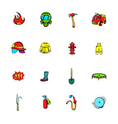 firefighter icons set cartoon vector image