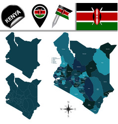 Map of kenya with named counties vector