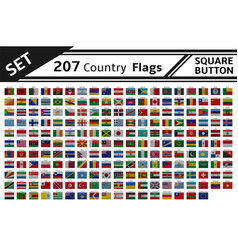 207 countries flags square button vector