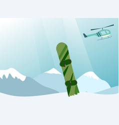 helicopter lift a snowboarder at the top of the vector image