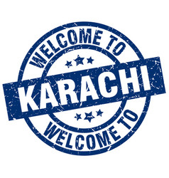 Welcome to karachi blue stamp vector