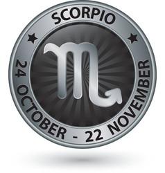 Scorpio zodiac silver sign virgo symbol vector image