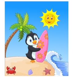 Happy penguin cartoon holding surfboard vector image