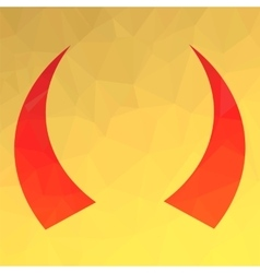 Red horns icon vector