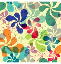 Effortless floral pattern with vivid flowers eps1 vector