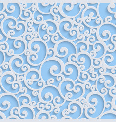 Blue 3d floral damask seamless pattern vector