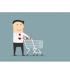 Businessman with empty shopping cart vector