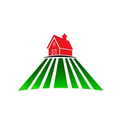 Farm house with field vector