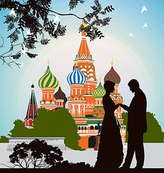 Man does offer a woman on the red square vector