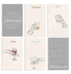 Set pages alcohol menu hand holding glass vector