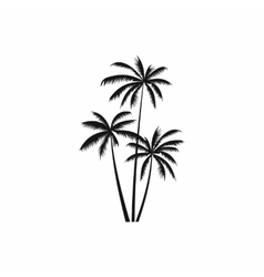 Three coconut palm trees icon simple style vector