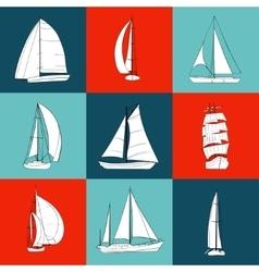 Set of 9 contour sailboats vector