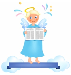 Angel with book vector image vector image
