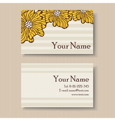 Business floral card with yellow flowers vector
