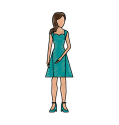 Color pencil silhouette faceless woman with dress vector