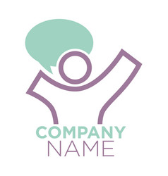 Company logo design with person silhouette and vector