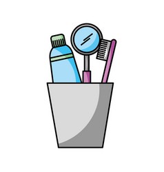 Cup with toothbrush and toothpaste vector