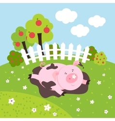 Cute smilling pig on a farm field vector