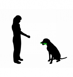 Dog training obedience command hold vector