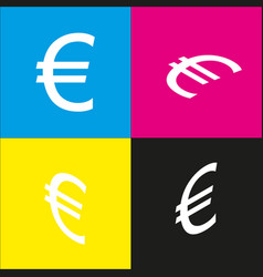 Euro sign white icon with isometric vector
