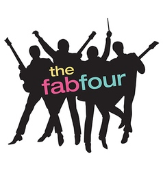 Fab four beatles silhouette vector