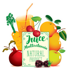 fresh juice banner with various fruits and berries vector image