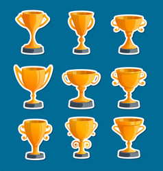 golden champion cups isolated badge set vector image vector image