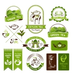 Green indian and black tea labels vector image vector image