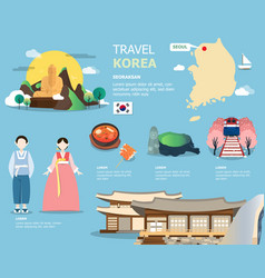 Korean map and landmarks for traviling in korea vector