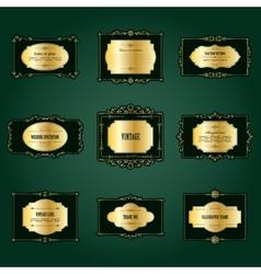 Luxury golden frames and labels set vector
