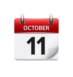 October 11 flat daily calendar icon date vector
