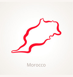 Outline map of morocco marked with red line vector