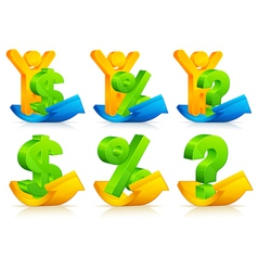 Person question exclamation percent and dollar sig vector