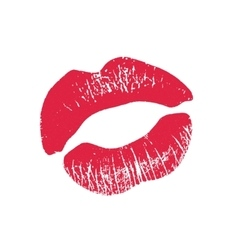 Print of pink lips on a white vector image vector image