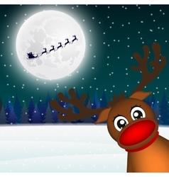 Reindeer peeking sideways in the forest vector