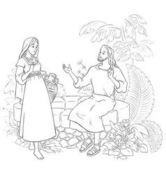 Samaritan woman at the well coloring page vector