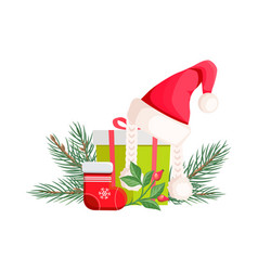Santa claus hat lying on gift bow with red ribbon vector