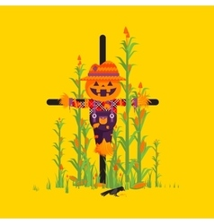 Scarecrow for halloween in a flat style vector image