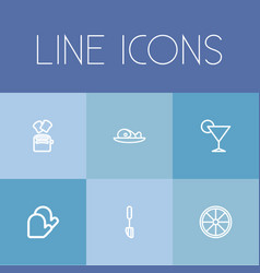 Set of 6 editable cook outline icons includes vector