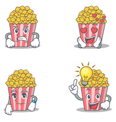 Set of popcorn character with angry love waiting vector
