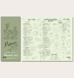 tea restaurant menu template vector image vector image
