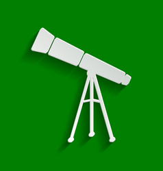 Telescope simple sign paper whitish icon vector