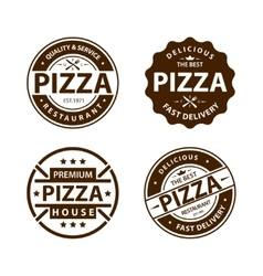 Vintage pizza logo label badge set vector image vector image