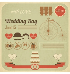 Wedding day invitation infographics card vector