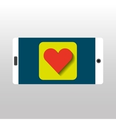 White smartphone love heart network digital vector