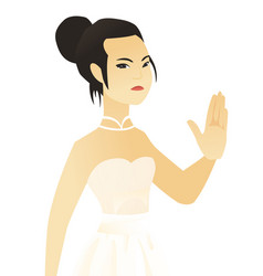 Young asian fiancee showing palm hand vector