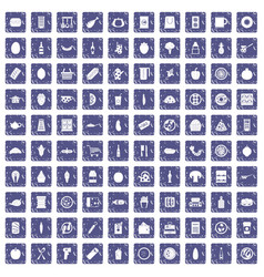 100 lunch icons set grunge sapphire vector